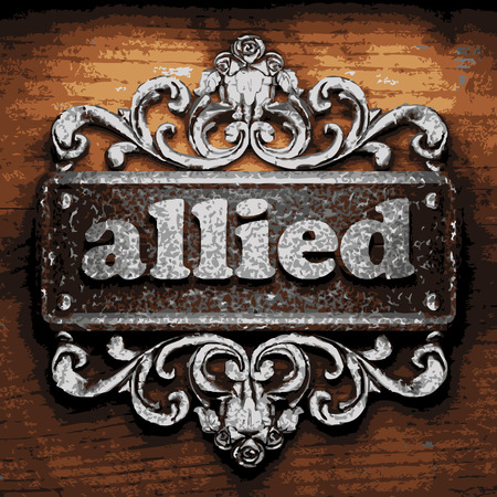 allied: iron allied word on wooden background Illustration