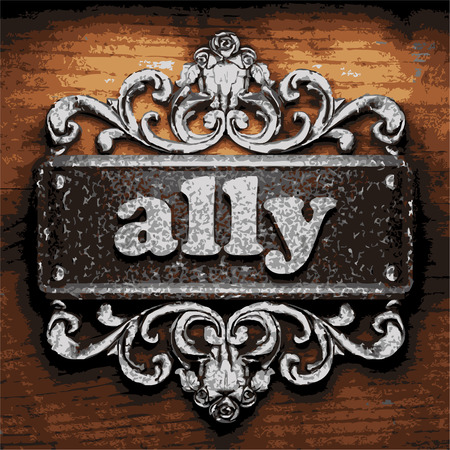 an ally: iron ally word on wooden background Illustration