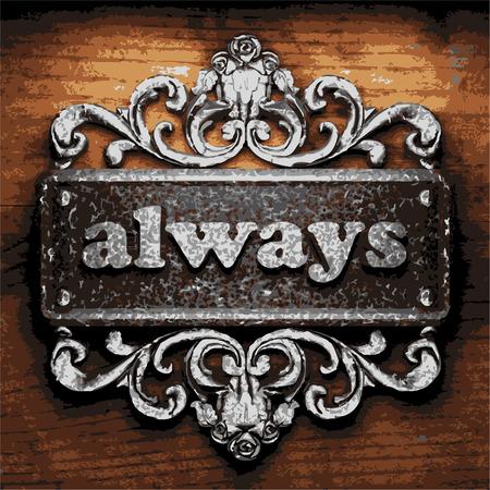 always: iron always word on wooden background