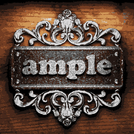 ample: iron ample word on wooden background Illustration