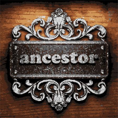 przodek: iron ancestor word on wooden background