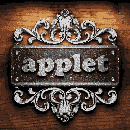 applet: vector iron word on wooden background