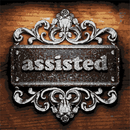 assisted: vector iron word on wooden background