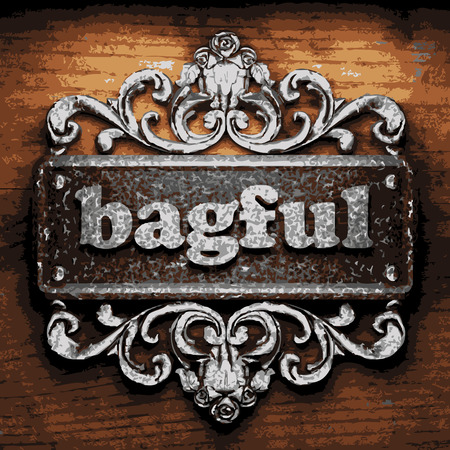 bagful: vector iron word on wooden background