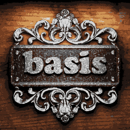 basis: vector iron word on wooden background