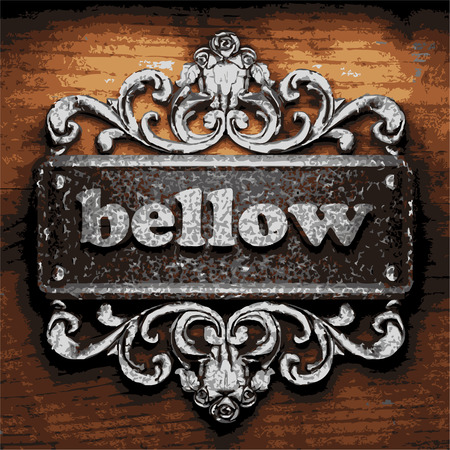 bellow: vector iron word on wooden background