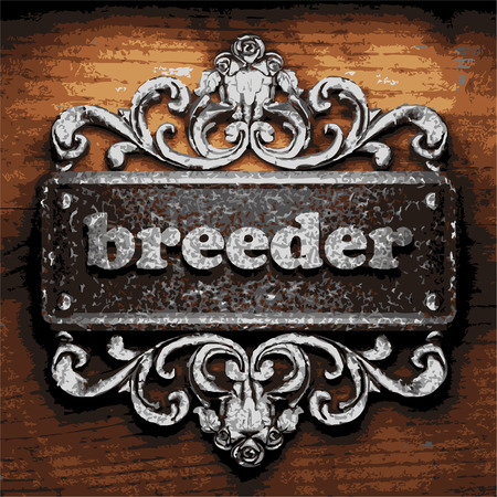 breeder: vector iron word on wooden background