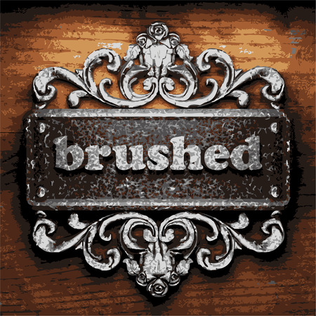 brushed steel: vector iron word on wooden background