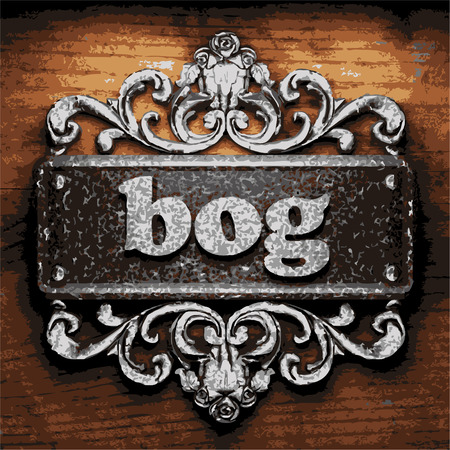 bog: vector iron word on wooden background