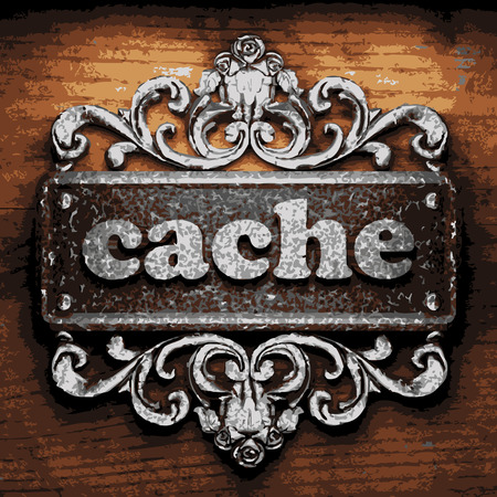cache: vector iron word on wooden background