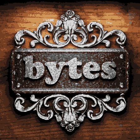 bytes: vector iron word on wooden background