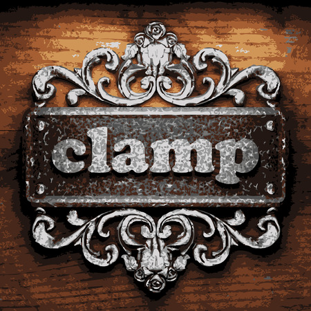 clamps: vector iron word on wooden background