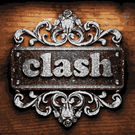 clash: vector iron word on wooden background