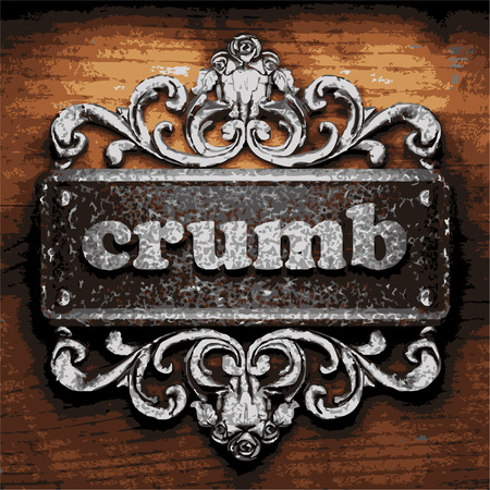 crumb: vector iron word on wooden background