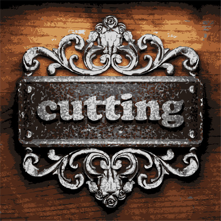 timber cutting: vector iron word on wooden background