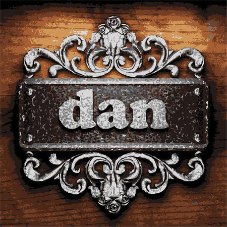 dan: vector iron word on wooden background