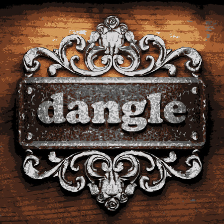 dangle: vector iron word on wooden background