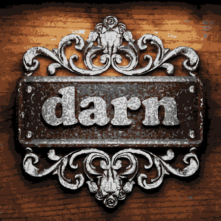 darn: vector iron word on wooden background