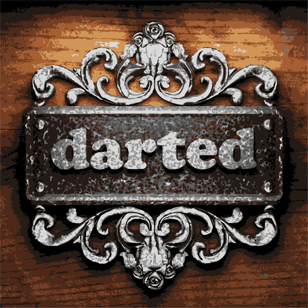 darted: vector iron word on wooden background