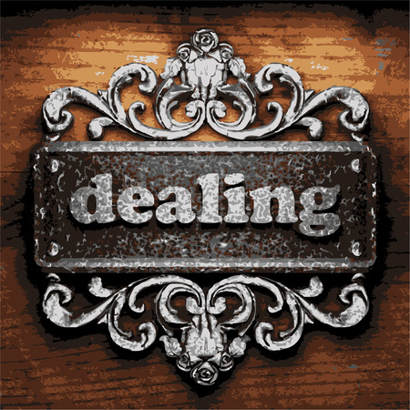 dealing: vector iron word on wooden background