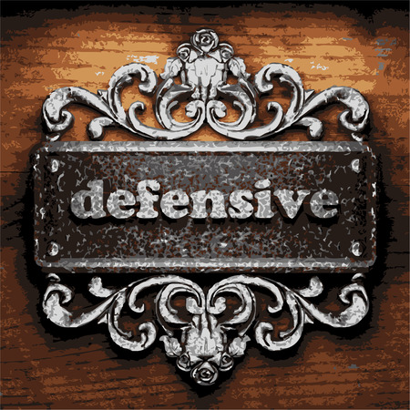 defensive: vector iron word on wooden background