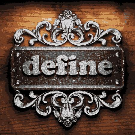 define: vector iron word on wooden background
