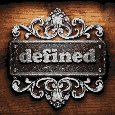 defined: vector iron word on wooden background