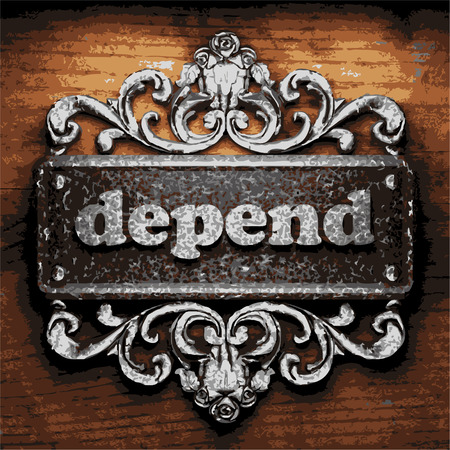 depend: vector iron word on wooden background