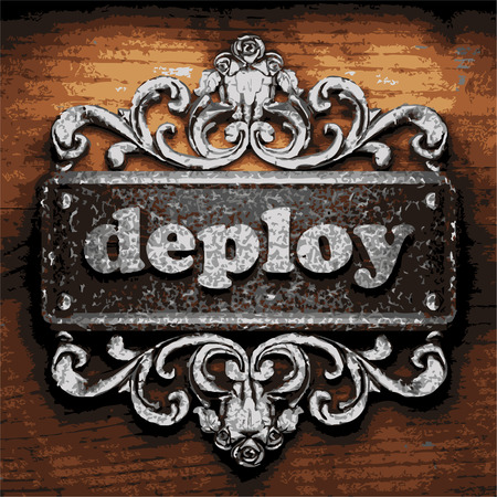 deploy: vector iron word on wooden background