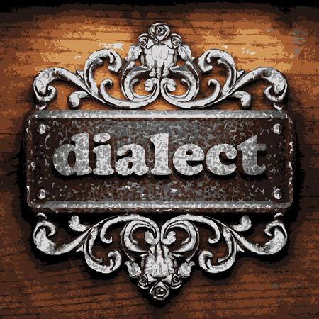 dialect: vector iron word on wooden background