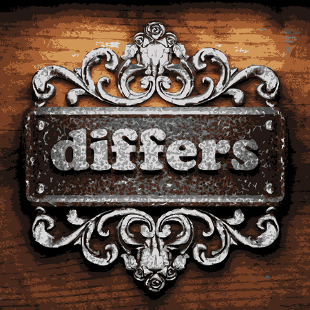 differs: vector iron word on wooden background