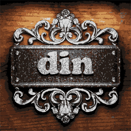 din: vector iron word on wooden background