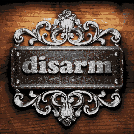 disarm: vector iron word on wooden background