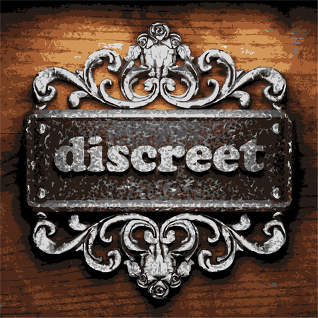 discreet: vector iron word on wooden background