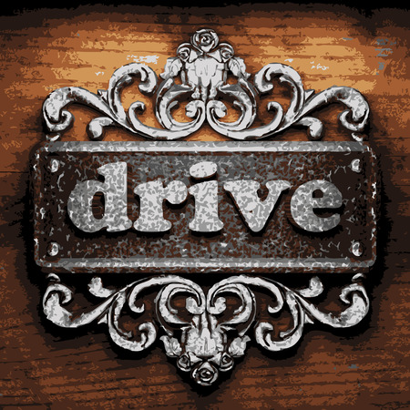 drive nail: vector iron word on wooden background