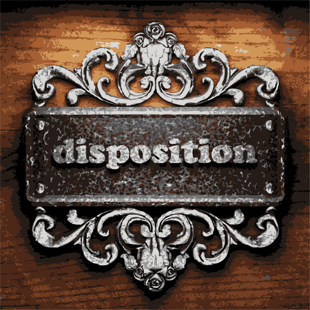 disposition: vector iron word on wooden background