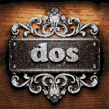 dos: vector iron word on wooden background