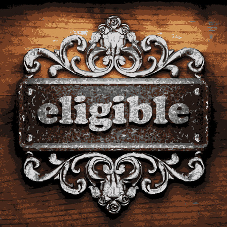 eligible: vector iron word on wooden background