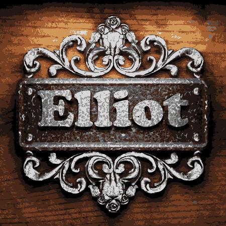elliot: vector iron word on wooden background