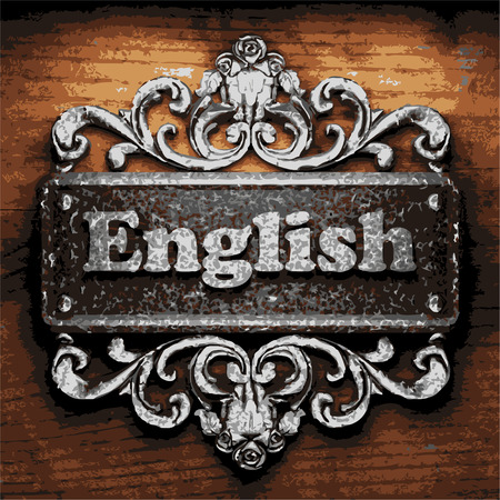 english countryside: vector iron word on wooden background