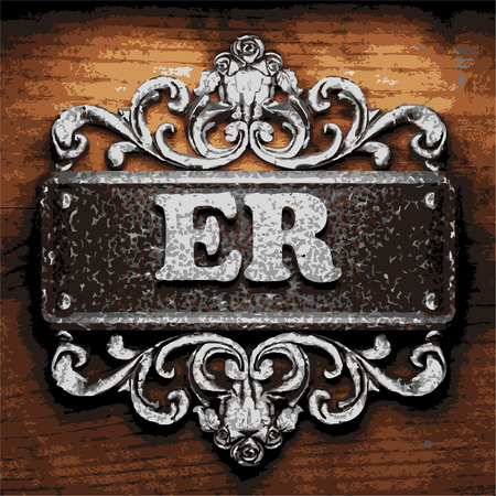 er: vector iron word on wooden background