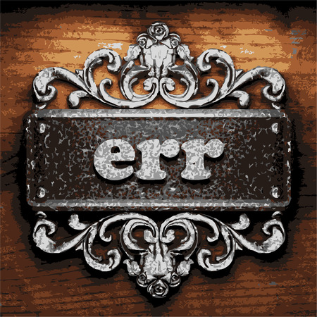 err: vector iron word on wooden background