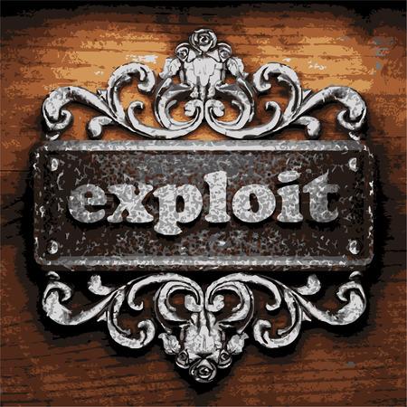 explocion: de hierro la palabra vector sobre fondo de madera