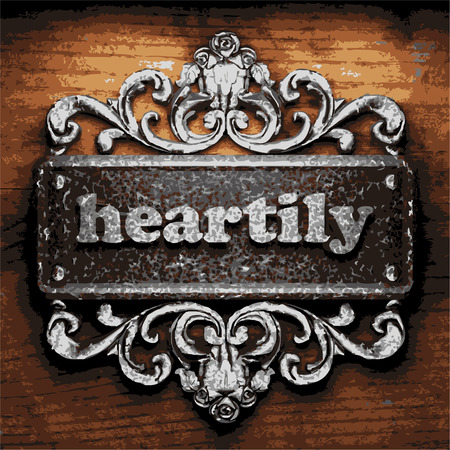 heartily: vector iron word on wooden background