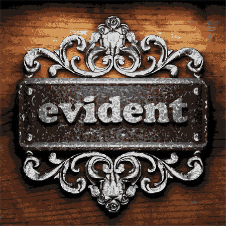 evident: vector iron word on wooden background