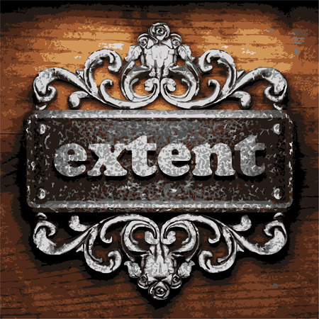 extent: vector iron word on wooden background