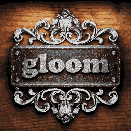 gloom: vector iron word on wooden background