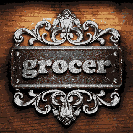 grocer: vector iron word on wooden background
