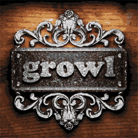 growl: vector iron word on wooden background