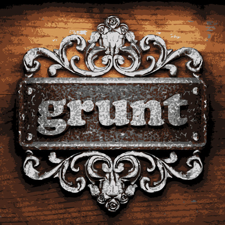 grunt: vector iron word on wooden background